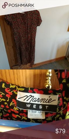 Vintage Marnie West wrap around cherry print dress So unique and so cute, faux wrap around, includes original sash. Size is a historic 12, more like 10 nowdays. Flawless dress, quite the find! Vintage Dresses