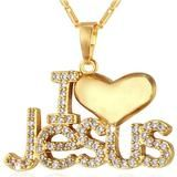 Check out our I Love Jesus Diamonds Necklace 18K Gold Plated Pendant