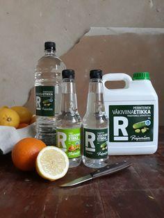 väkiviinaetikka, rajamäen, ekologinen, pyykki, huuhteluaine, diy Poland Springs, Coconut Water, Drink Bottles, Cleaning Supplies, Water Bottle, Soap, Dishes, Drinks, Diy