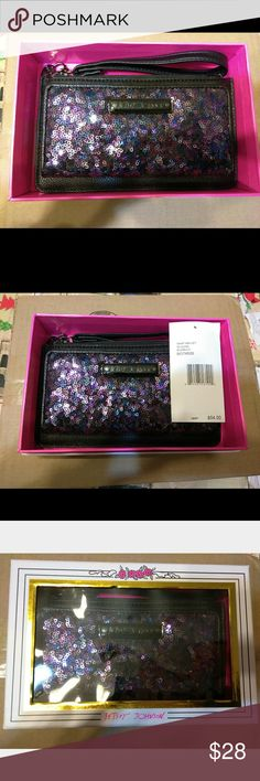 Betsey Johnson Wristlet Purple sequined Wristlet, gold interior and black exterior. Brand New, Never used, Betsey Johnson Bags Clutches & Wristlets
