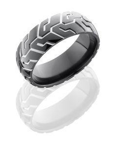 Black Zirconium with Silver motorcycle tire tread design