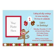 Sock Monkey Balloon Photo Birthday Invitations