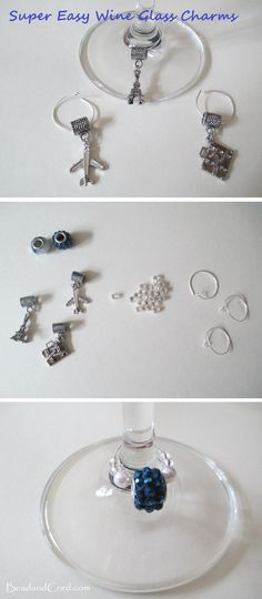 DIY How to Make Wine Glass Charms.  Charms help your guests remember which glass is theirs.