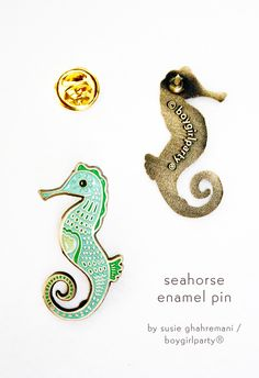 From http://shop.boygirlparty.com: Seahorse Pin! Enamel pin featuring a detailed drawing of a seahorse by Susie Ghahremani / boygirlparty.com -- seahorse lapel pin for the win. #pingame