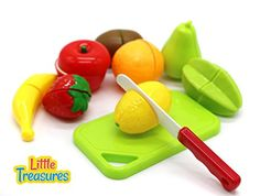 Little Treasures Cutting Fruit Set Chopping Board and Toy Fruit Features Two Piece Pretend Cut in Half Fruits and Cutting Board with Pretend Chopping Knife -- Visit the image link more details.