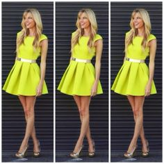 How to Chic: GET THE BLOGGERS LOOK - NEON SKATER DRESS