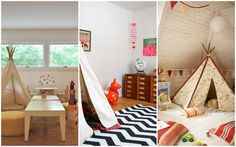 Kids Room, Native American Tepee Childrens Playrooms Zebra Rug Little Orange Horse: Admirable Kid's Playroom in Bright Colors