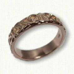 14kt Rose Gold Adare Knot Wedding Band - No Rails - narrow width - Available In All Sizes and Metals