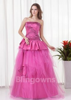 Strapless Lace Up Fuchsia Beads Tulle Floor Length Sleeveless Ball Gown Quinceanera Dresses