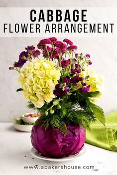 Make this beautiful cabbage flower arrangement with items that you can pick up on your next grocery trip! A red cabbage conceals a mason jar vase which you fill with any variety of floral options. Centerpiece for many occasions like holiday, wedding, birthday or Mothers Day! #cabbage #centerpiece #floralarrangement #rusticflowers #weddingcenterpiece #weddingdecor Flower Centerpieces, Wedding Centerpieces, Flower Arrangements, Easter Centerpiece, Floral Arrangement, Cabbage Flowers, Red Cabbage, Easter Dinner Recipes, Holiday Recipes