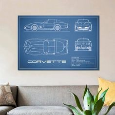 """East Urban Home 'Chevrolet Corvette C3 Body Type' Graphic Art Print on Canvas in Blue Size: 26"""" H x 40"""" W x 1.5"""" D"""