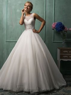 Illusion Neckline A-line Wedding Dresses Featured Sweetheart