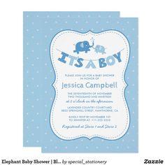 Elephant Baby Shower   Blue Its a Boy Card
