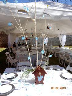 centerpiece idea kids party, handbade, bridhouse, party decoration, decoracion bautizo jaulas arboles