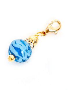 Branelli Blue Polymer Clay Dangle Gold PCD101