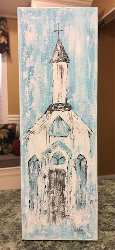 Old Chapel Painting church painting spiritual painting Abstract Canvas, Canvas Art, Blank Canvas, Painting Canvas, Diy Painting, Watercolor Painting, Farmhouse Paintings, Farmhouse Artwork, Spiritual Paintings