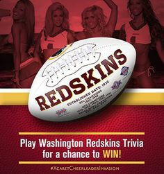 .       Washington Redskins Cheerleaders  Only 2 more days before we head to the Occidental Grand Xcaret to shoot our 2014-2015 calendar! To celebrate, Occidental Hotels & Resorts is giving away some great prizes, including this autographed football! Just visit https://www.facebook.com/OccidentalHotels and answer today's trivia question for your chance to win. See you soon Mexico!