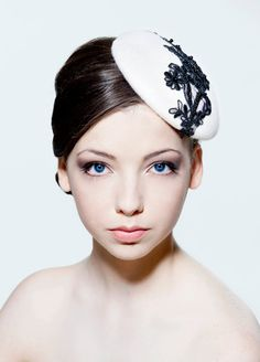 Ivory felt percher hat with beaded lace by RoseYoungMillinery, £145.00