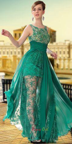 Unique Green Transparent Designer Dress