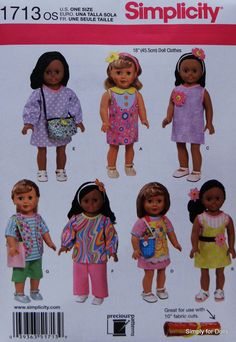 "Simplicity 1713 Sewing PATTERN for 18"" Girl Doll Clothes from AMERICAN SELLER #Simplicity"