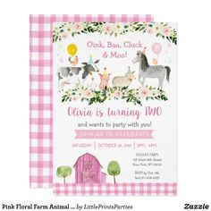 Pink Floral Farm Animal 2nd Birthday Invitation Farm Party Invitations, 2nd Birthday Invitations, Pink Invitations, Cow Birthday, Farm Animal Birthday, 1st Birthday Girls, Personalized Note Cards, Animal Party, Farm Animals