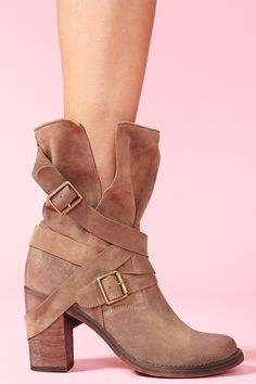 I love how slouchy these are, and the strap across the heel is too cute. France Strapped Boot - Taupe Suede