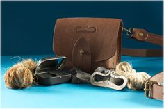 Flint & Steel Striker Kit by MakeYourFire on Etsy Leather Belt Pouch, Leather Bag, Flint And Steel, Yellow Leather, Brown Leather, Forged Steel, Iron Age, Fire Starters, Jute Twine