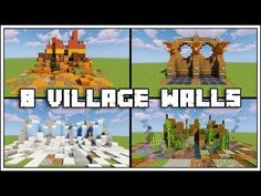 8 Awesome Village Wall Designs For Minecraft Minecraft Medieval Buildings, Minecraft Bridges, Minecraft Structures, Easy Minecraft Houses, All Minecraft, Minecraft Videos, Minecraft Construction, Minecraft Blueprints, Minecraft Architecture