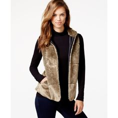 kensie Faux-Fur Vest ($119) ❤ liked on Polyvore featuring outerwear, vests, mushroom, fake fur vest, faux fur vest, vest waistcoat, kensie and faux fur waistcoat