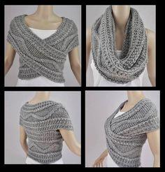 Grey Vest Jacket Bolero Snood Knitted by FrenchCrochetStory