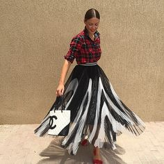 Perfect plaid shirt , pretty skirt and vintage Chanel .. My favourite combo !