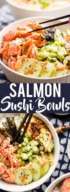 Sushi Bowls These Salmon Sushi Bowls have all the delicious flavors of your favorite salmon roll in a delicious bowl! Topped with a spicy sriracha mayo and ginger soy dressing, it is flavor explosion! Salmon Sushi Bowls have all the deli Sushi Recipes, Seafood Recipes, Asian Recipes, Dinner Recipes, Cooking Recipes, Healthy Recipes, Recipies, Atkins Recipes, Top Recipes