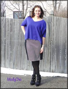 Minnie Rose Cashmere Pow Wow Sweater, Kohls striped pencil skirt, heeled booties. #OOTD #winter