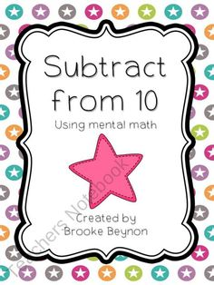 Get your little ones practicing their mental subtraction from ten with this cute and fast game.All you need is some game boards and some ten sided dice {freebie} Math Subtraction, Subtraction Activities, Math Activities, Educational Activities, Math Classroom, Kindergarten Math, Teaching Math, Teaching Ideas, Classroom Freebies
