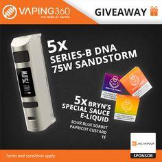 5 x Sandstorm DNA 75W and 5 x Bryn's special e-liquids JAC Vapour Giveaway