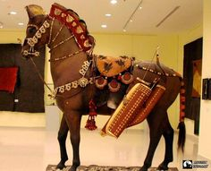 Scythian horse fully equipped with reproductions of horse accoutrements found in ancient Scythian chief grave.