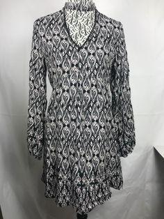 0c9e40e743dcb6 Ethereal Anthropologie Women's dress Size M V-neck Choker Black white  floral 78 #Ethereal