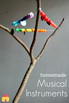 gentle percussion- shake beads, buttons, on wire & forked stick- easy homemade musical instruments for kids Forest School Activities, Activities For Kids, Crafts For Kids, Toddler Crafts, Homemade Musical Instruments, Preschool Music, Music Crafts, Music And Movement, Music For Kids