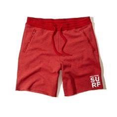 Hollister Mens Fleece Sweat Jogger Shorts Red