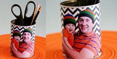 DIY Father's Day Photo Pencil Holder Gift via @CraftyVanessa #ChiquitaMoms