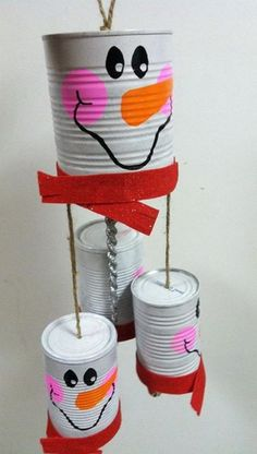 Snowman windchime recycle cans. Add charm to any Christmas tree or gift box, and make charming and thoughtful holiday presents for friends and family members.