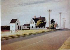 Route Eastham by Edward Hopper American Realism, American Artists, Edward Hopper Paintings, Ashcan School, Andrew Wyeth, Ap Art, Artist Art, Oeuvre D'art, Landscape Paintings