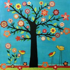 Tree Flowers Birds Collage Art Painting - Sunshine by Sascalia