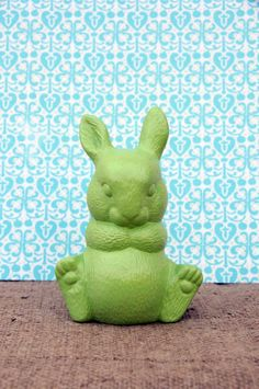 Upcycled Ceramic Bunny, Vintage, Bunny Sculpture, Animal Figurine, Repurposed, Rabbit, Home Decor, Bright Lime Green, Unique, Green Apple by SilverBirdBoutique on Etsy