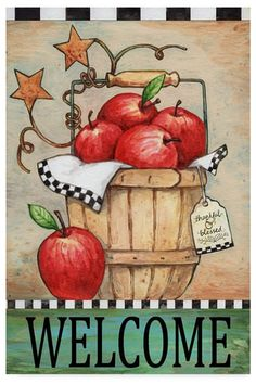 Trademark Global Melinda Hipsher 'Welcome Apple Basket' Canvas Art - 12 x 19 Artist Canvas, Canvas Art, Canvas Ideas, Canvas Paintings, Apple Baskets, Outdoor Flags, Red Apple, Apple Tree, Baby Clothes Shops