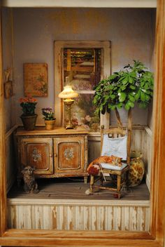 I love this sweet and rustic dollhouse miniature roombox! Vitrine Miniature, Miniature Rooms, Miniature Houses, Miniature Furniture, Doll Furniture, Dollhouse Furniture, Minis, Rustic Room, Miniture Things