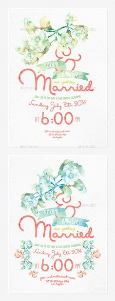 Floral Wedding Invitation III — Photoshop PSD #wedding #vintage • Available here → https://graphicriver.net/item/floral-wedding-invitation-iii/9320840?ref=pxcr