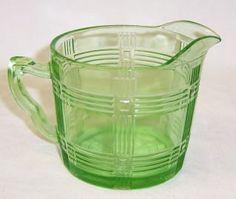 Hazel Atlas Glass Green CRISS CROSS Creamer