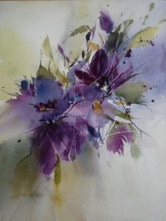 Paintings by Annemiek Groenhout - Ego - AlterEgo Easy Watercolor, Abstract Watercolor, Watercolor Illustration, Watercolor Flowers, Watercolor Paintings, Watercolour, Arte Floral, Abstract Flowers, Flower Art