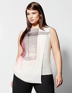 6th & Lane sheer printed tunic features an asymmetric overlay and zipper detailing. #LaneBryant #6THandLANE
